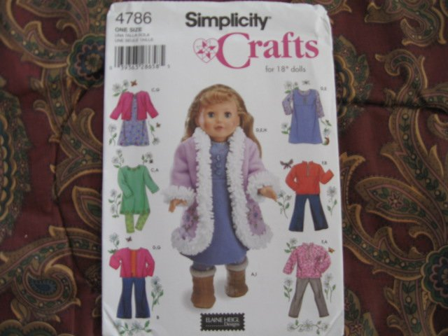 """SIMPLICITY 4786 AMERICAN GIRL 18"""" DOLL CLOTHES PATTERN DRESS, COAT, BOOTS NEW"""