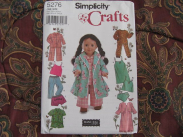 "SIMPLICITY 5276 AMERICAN GIRL 18"" DOLL CLOTHES PATTERN PAJAMAS & UNDERGARMENTS NEW"
