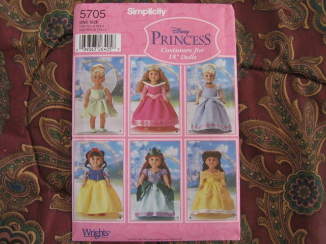 "SIMPLICITY 5705 AMERICAN GIRL 18"" DOLL CLOTHES PATTERN PRINCESS NEW DISCONTINUED"