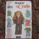 "SIMPLICITY 7083 AMERICAN GIRL 18"" DOLL CLOTHES SEWING PATTERN JEAN JACKET NEW"