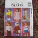 "McCALL'S 3900 AMERICAN GIRL 18""DOLL CLOTHES PATTERN NEW DRESS, COAT, HIPPIES 70'S TOP, CHEERLEADER"