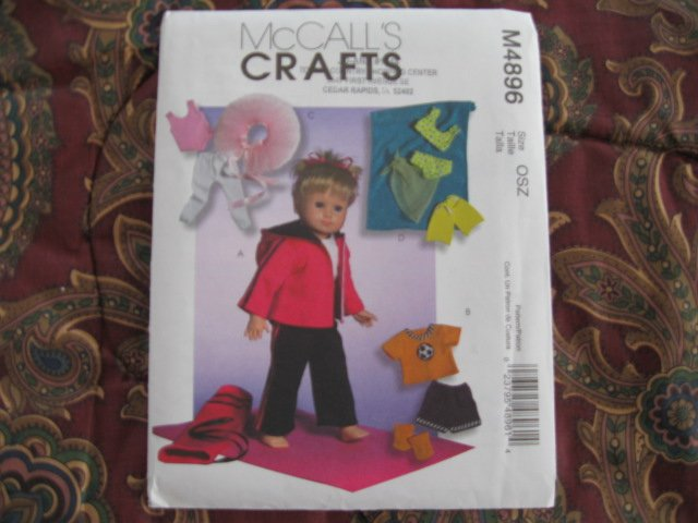 """McCALL'S 4896 AMERICAN GIRL 18"""" DOLL CLOTHES PATTERN NEW SPORTS SOCCER, SWIM LEOTARD"""