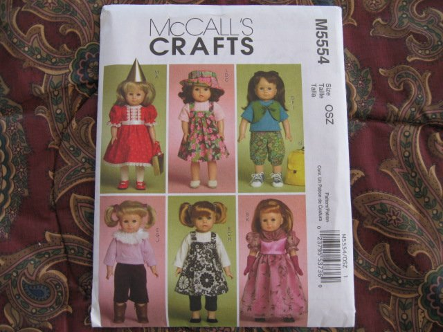 """McCALL'S 5554 AMERICAN GIRL 18"""" DOLL CLOTHES PATTERN DRESSY & CASUAL LOTS OF STYLES  NEW"""