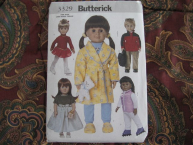 "Butterick 3329 American Girl 18"" Doll clothes pattern  NEW  PAJAMAS, ROBE, ICE SKATING OUTFIT, BOY+"