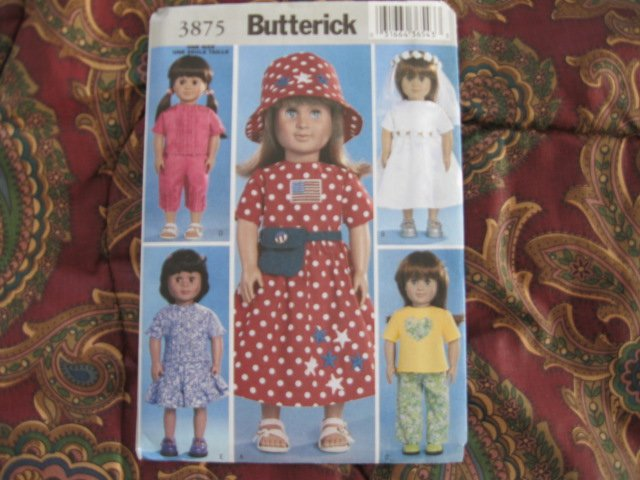 """Butterick 3875 American Girl 18"""" Doll clothes sewing pattern NEW UNCUT FIRST COMMUNION, SUMMER"""