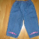 "Medium blue denim jeans Girl""s Size 24 months Dark pink stitching and embroidery."