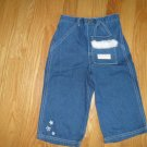POOH Medium blue denim jeans Girl&#39;s Size 18 months White stitching and embroidery.