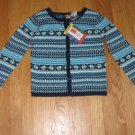 McKids Size 8 navy and turquois long sleeve cardigan sweater with roses NEW with tag