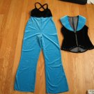 DANCE COSTUME GIRL'S SIZE LARGE (8??) TURQUOISE & BLACK 2 PIECE WITH RHINESTONES ROCK STAR HALLOWEEN