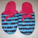 SIZE 4/5 BEDROOM SLIPPERS blue & black stripe w/ fuschia NEW W/ TAG