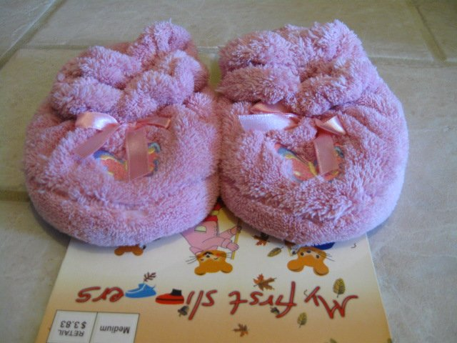 My First Slippers SIZE M (5/6) TODDLER BEDROOM SLIPPERS pink w/ butterfly NEW W/ TAG
