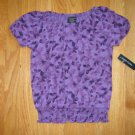 FADED GLORY SIZE S(6 - 6X) PURPLE  HEART PRINT PEASANT TOP NEW WITH TAG VALENTINE'S DAY