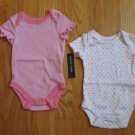 FADED GLORY SIZE NEWBORN PINK ONESIES SET OF TWO NEW WITH TAGS