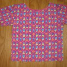 HANDMADE GIRL'S SIZE 6-8 PURPLE, LIME, TURQUOISE, FUSCHIA & YELLOW TULIP PRINT short sleeve KNIT TOP