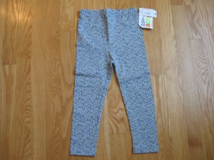 COLOR & CO SIZE 4 GIRLS LEGGINGS gray with blue calico flowers NEW WITH TAG Girl's clothes