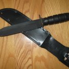 Near Mint - Camillus Marine Combat Survival Knife With Black Leather Scabbard Model CM-5684