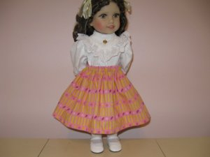 """LIFE OF FAITH 18"""" DOLL CLOTHES PINK & YELLOW SKIRT American Girl KIRSTEN, MCKENNA"""