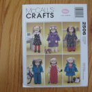 "McCall's 2506 American Girl 18"" Doll clothes pattern NEW JUMPER, COAT, BATHROBE, OVERALLS, DOG"