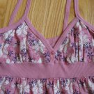 BELLE du JOUR SIZE ADULT S CAMISOLE TOP MAUVE, PURPLE IVORY PRINT SPAGHETTI STRAPS