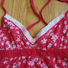 HOLLISTER SIZE ADULT S CAMISOLE TOP FUSCHIA AND WHITE SPAGHETTI STRAPS EYELET TRIM