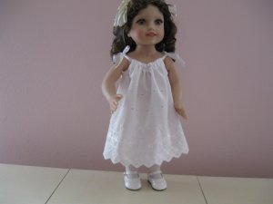 "AMERICAN GIRL 18"" DOLL CLOTHES WHITE EYELET PILLOWCASE DRESS LEA, MELODY USA MADE NEW"