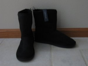 FADED GLORY WOMEN'S SIZE 10 BLACK FAUX SUEDE BOOTS SLIPPERS VANESSA STYLE NAME