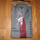GEORGE SIZE 6 - 7 BOYS BUTTON DOWN SHIRT & TIE, GRAY & DEEP RED LONG SLEEVE NEW IN PACKAGE