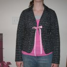 XHILARATION SIZE M (10-12)  GIRL'S BLACK & WHITE TWEED JACKET, PINK RIBBON TIE LONG SLEEVE