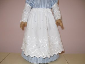 "AMERICAN GIRL 18"" DOLL CLOTHES REGENCY EYELET APRON CAROLINE, FELICITY, ELIZABETH LIFE OF FAITH"