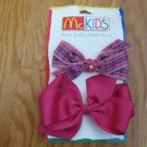 MCKIDS FUSCHIA BOWS 2 COUNT NEW IN PACKAGE COORDINATES WITH JUMPER PIGGY BACK BOWS