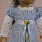 "AMERICAN GIRL CAROLINE 18"" DOLL CLOTHES REGENCY DRESS BLUE & WHITE JANE AUSTEN PRIDE & PREJUDICE"