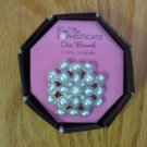 THE SOPHISTICATE BROOCH 1.25 INCHES (DIAMETER)  FAUX WHITE PEARLS NEW IN PACKAGE