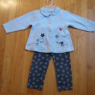 YOUNG HEARTS GIRL'S SIZE 4 2 PIECE LEGGINGS SET LIGHT BLUE FLEECE TOP & NAVY PRINT LEGGINGS