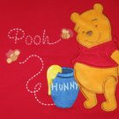 DISNEY STORE GIRL'S SIZE 6 6X SWEATSHIRT RED WINNIE THE POOH APPLIQUE & EMBROIDERY