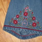 MOTHERHOOD MATERNITY WOMENS SIZE L ??  DENIM TOP 3/4 LENGTH SLEEVE SHIRT HIPPY EMBROIDERY
