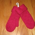NEW FUSCHIA MITTENS GIRL'S SIZE 6 WITH CUFF 100% ACRYLIC KNIT & CIRCO MITTEN CLIPS NEW IN PACKAGE