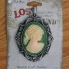 LOST & FOUND CAMEO 4 NECKLACE PENDANT GREEN ANTIQUE STYLE VICTORIAN OVAL NEW IN PACKAGE