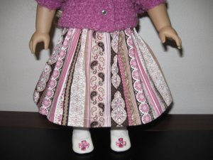 "AMERICAN GIRL SAIGE, McKENNA 18"" DOLL CLOTHES MAUVE, BROWN & IVORY STRIPED SKIRT LIFE FAITH"