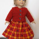 AMERICAN GIRL SAIGE, McKENNA 18&quot; DOLL CLOTHES BARN  RED SWEATER & SCOTTY DOG SKIRT LIFE OF FAITH