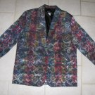 BRAUN STYLE WOMEN'S SIZE L PRINT BROCADE JACKET OFFICE CAREER BLAZER MADE IN USA