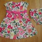 GENUINE KIDS GIRL'S SZ 24 mo. FLORAL PRINT DRESS & PANTIES / BLOOMERS EASTER, WEDDING, CHURCH