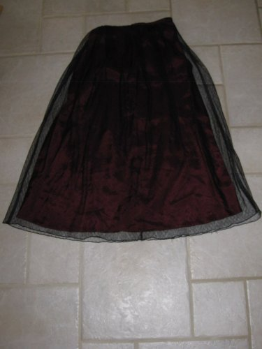 JONATHAN MARTIN GIRL'S SZ 10-14 LONG PLEATED SKIRT BURGANGY W/ BLACK LACE OVERLAY HOLIDAY CHRISTMAS