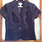 ANN TAYLOR LOFT SIZE 8 NAVY BLUE BLAZER SHORT SLEEVE JACKET OFFICE CAREER SPRING SUMMER FALL