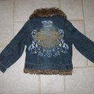 SQUEEZE GIRL'S SIZE 5 DENIM JEAN JACKET W/ REMOVABLE FAUX FUR COLLAR & QUILTED VEST