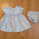 GEORGE GIRL'S SIZE 6 / 9 mo. GREEN DRESS CALICO PRINT SHORT SLEEVE SUMMER W/ PANTIES / BLOOMERS