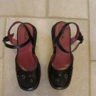 MIA GIRL'S SIZE 3 1/2 SHOES BLACK VINYL 2 1/4 INCH HEEL DRESSY HOLIDAY