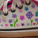 NO BOUNDARIES GIRL'S SIZE 13 1/2 T SHOES LEATHER ADORBS DECORATED PASTEL FLOWERS & BUTTERFLIES NWT