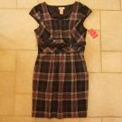 CANDIE'S JUNIOR GIRL'S SIZE 9 DRESS & BELT BROWN FUCHSIA PLAID CAP SLEEVES FALL AUTUMN NEW