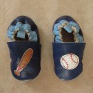 GEORGE BOY'S SIZE 2 T (3-6mo.) SHOES GENUINE LEATHER SOFT SOLE BLUE W/ BASEBALL APPLIQUE NEW IN PKG.