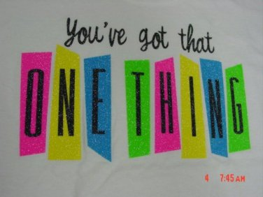 """LYRIC NATION T-SHIRT SIZE WOMEN'S M """"YOU'VE GOT THAT ONE THING"""" BRIGHT CROP TOP GLITTER NEW W/ TAG"""